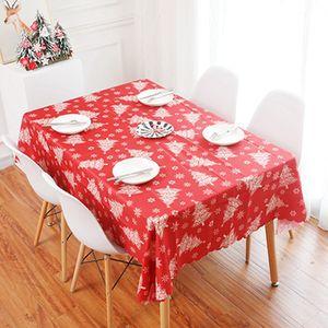 Christmas Decoration Fabric Art Tablecloth Rectangular Tea Table Runner Kitchen Decoration Christmas Tree Print Tableclothes