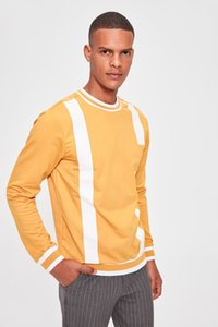 Trendyol Mustard New Men 'S Bike Collar Printed Sweatshirt New TMNAW20SW0007