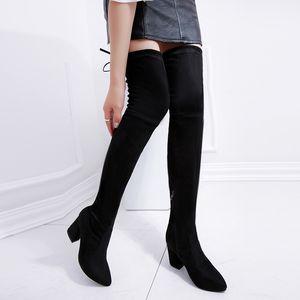 2017 neue dick mit hohen Absätzen koreanischen des wilden elastischen Stiefels mit hohen gestreckt war dünn über das Knie Stiefel Damen