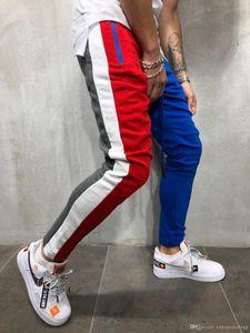 Mens Autumn Winter New Casual Pants Contrast Color Patchwork Drawstring Slim Fit Fashion Hip Hop Streetwear Trousers Pants