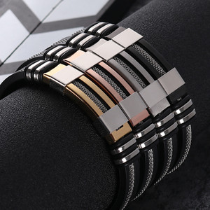 Men's Stainless Steel Silicone Black Bracelet Simple Rubber New Design Punk charm WristBand Bangle For Mens Fashion Jewelry Gift