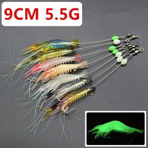 مختلط لون 7 9CM 5.5g مضيئة الروبيان هوك الصيد هوكس الخطافات لينة الطعوم السحر PESCA معالجة صيد الاسماك C-003