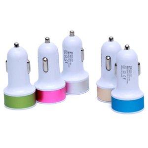 محول موانئ مزدوج USB 2.1A المعادن شاحن سيارة ملون مايكرو USB سيارة التوصيل USB للحصول على لالروبوت الهاتف