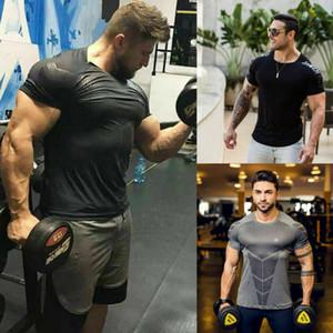 Мужская Бодибилдинг с коротким рукавом Gym Спортивные футболки Мужчины O-Шея Фитнес Compression Быстрый Сушильные Tops