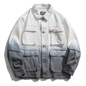 رجل مصمم جاكيتات الرجال التدرج المتناثرة الشارع الشهير متعدد جيوب منفذها سترات ذكر شارع العليا القطن البضائع معطف YT5032