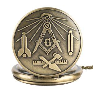 Bronze maçonnique franc-maçonnerie chrome carré et boussole maçon collier rétro pendentif montre de poche à quartz meilleurs cadeaux pour franc-maçon