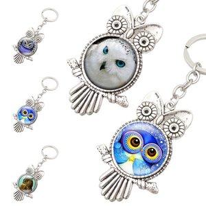 Antiga Forma de prata da coruja Coruja Cabochão Chaveiros Keychain de vidro