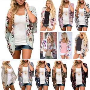 Yaz şifon Sahil Cape Bikini Kapak Güneş kremi Gömlek Kimono Şal Beachwear HH9-2430 İçin Bluz Kapak Baskılı Kadınlar Çiçek Hırka Coat