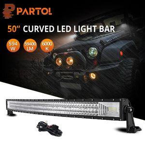 Partol 50inch 3-Роу светодиодные Bar Curved Tri-Row LED Bar 12V 24V Combo Beam для Offroad Грузовик внедорожник ATV 4WD 4x4 702W 70200lm 6000k