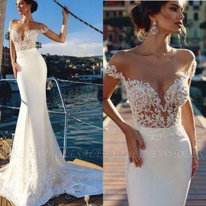 2019 Mermaid Beach Abiti da sposa Sheer Off The Shoulder Lace Tromba Abiti da sposa con treno staccabile Tulle Country Style