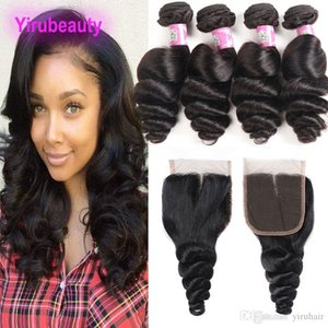 Brazilian Loose Wave Curly 4 Bundles With 4X4 Lace Frontal Human Hair Extensions Loose Wave Bundles With Closure 5 Pieces lot Natural Color