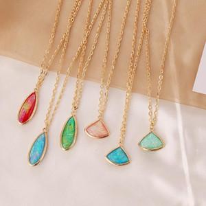 Pedras Retro metal semi-preciosas Pingente For Women Feminino elegante jóias temperamento Water Drop Colar do presente de aniversário