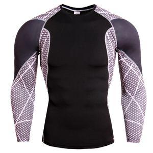 Erkek Hızlı Kuru Spor Tshirts Moda Kontrast Renk Nefes Mürettebat Boyun Skinny Tshirts Mens Eğitim Tops Koşu