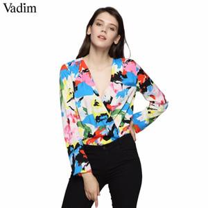 Vadim Frauen V-Ausschnitt Floral Bunte Print Bodysuits Cross Design Langarm Playsuits Weibliche Streetwear Tops Blusas Kz1203 Q190507
