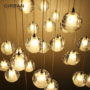 Modern Chandelier Simple Long Chandelier Nordic Creative Living Room Dining Room Crystal Glass Ball Decorative Lamps Facture