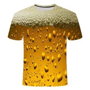 neues gelbes Schaum Sommerbier Hamburg Poker digitale 3D-Druck-T-Shirt mit Rundhalsausschnitt kurz Herren-sleeved T-Shirt, Freizeit fash