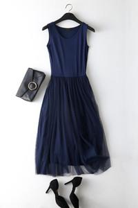 세련된 봄 여름 섹시한 스파게티 스트랩 패치 워크 메쉬 드레스 여성 거즈 얇은 명주 그물 레이스 탱크 드레스 Sundress 파티 Vestidos
