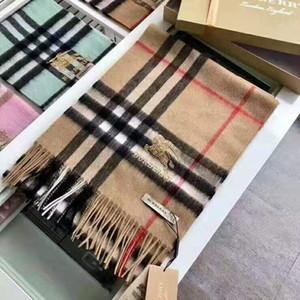 2019 Moda Unissex Inverno Designer 100% Cashmere Scarf momen e homens Marca de luxo Big Size check clássico Lenços Pashmina Infinito Cachecóis