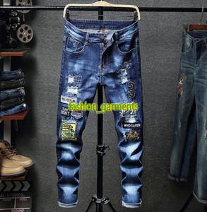 2019 nuovi Mens di personalità Locomotiva Hole ricamati jeans Uomini Gioventù Slim rettilineo pantaloni lunghi Trend Fashion Stylist Jeans