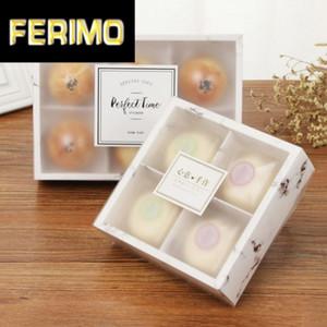 papel kraft galleta de la torta de mármol Embalaje Caja con ventana de PVC de plástico para el caramelo de chocolate Galletas caja de regalo de cartón de papel cartón