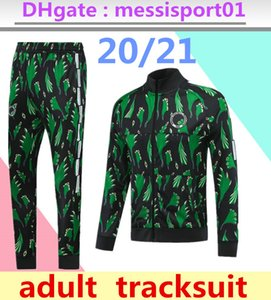 2020/21 Survêtement de football Nigéria Homme impression verte veste zippée manches pleine Surtvetement 2020 2021 Jogging Survêtement Veste de football
