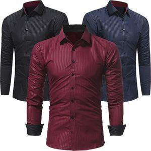 Hommes Chemises formelles robe italienne Designer Chemises de luxe regular solide rayé Décontracté d'affaires formel