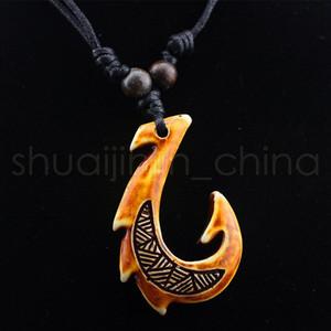 Маори рыболовный крючок кулон ожерелье мода кости имитация шеи цепь женщины подарки ожерелья открытый путешествия сувениры подарок TTA1536-14