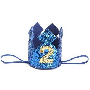 1 2 3 Año ducha Old Party regalos del bebé Decoración diadema para niños oro azul muchacho primer sombrero del cumpleaños del brillo princesa corona número