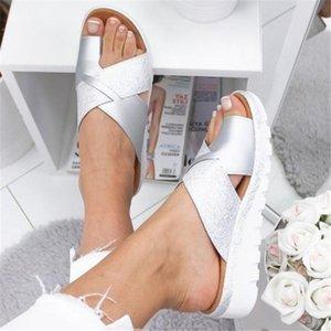 Kadınlar Yapay PU Ayakkabı Terlik Ortopedik Ayak Şişi Düzeltici Rahat Platformu Kama Bayanlar Casual Büyük Burun Düzeltme Sandal Y200405