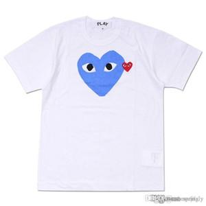 mens diseñadores camisetas blancas COMMES JUGAR violeta del corazón des Garcons Hombres camiseta blanca del corazón verde gráficas juegan letra grande Tee