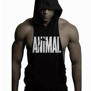 Los hombres de la moda 'S mangas Hoodies del verano de fitness Undershirt animales tanques con capucha de algodón Tops Súper muscular chaleco Gymsclothing tendencia