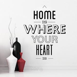 Home English Citazione parete della decorazione domestica Soggiorno casa è dove il vostro cuore è parete del vinile decalcomanie della Camera Ingresso