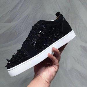 Black Suede С Pik Pik Шипы + Strass красной подошвой кроссовки обувь Женщины, Мужчины Повседневная Walking Fashion Collection Отдых партии свадебное платье