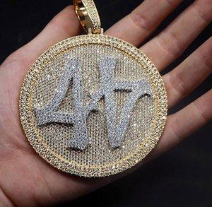 Grandi dimensioni Iced Out numero 44 Diamond Round Ciondolo Collana 18 carati Placcato oro Uomo Bling Bling Gioielli Hiphop Regali per Natale