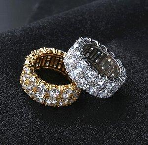 Alta calidad 18Kgold Hip-hop filas de los anillos dobles de los hombres de los anillos pequeña, con Party los anillos de piedra grande CZ Tamaño 7-11 envío libre del regalo