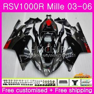 Aprilia için Gövde RSV1000R Mille RSV1000 R RR 03 04 05 06 Kaporta 38HM.0 RSV1000RR RSV 1000 2003 2004 2005 2006 03 06 Kaplama Fabrikası siyah