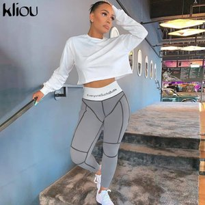 kliou 2019 cartas de cintura alta mallas de impresión aptitud otoño invierno mujeres remiendo de la manera rayado deportivo streetwear pantalones delgados Y200328
