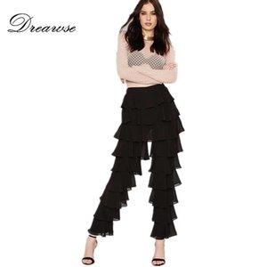Dreawse casuale allentato nero di tendenza di personalità Mid Tiered Ruffle Vita Slim epoca lungo elegante Pantaloni Flare Torre Pants D9875