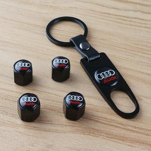 1set = 4pcs valvola della gomma CAP + 1pc Key Chain-Auto accessori della gomma del pneumatico gambo di valvola parti di aria copertura del cappuccio parapolvere auto per Audi BMW benz Honda toyota