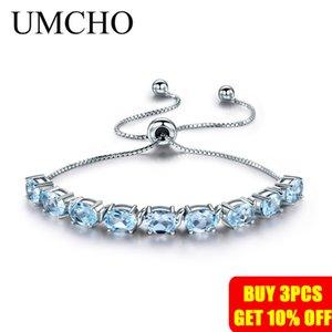 UMCHO 9ct Sky naturale Topazio azzurro Acquamarina Argento 925 catena Braccialetti di collegamento per le donne Fine Jewelry regolabile Bracciale