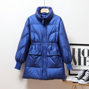 2020 Fashion Winter Glossy Stand collar Down Jacket Adjustable waist Loose Thick Warm Outwear Coat Solid Casual Female Parkas