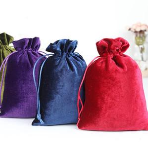 Venta caliente 10 unids 10x15cm / 12x14cm / 14x20cm / 25x30cm bolsa de regalo de boda bolsa de lazo de terciopelo de seda