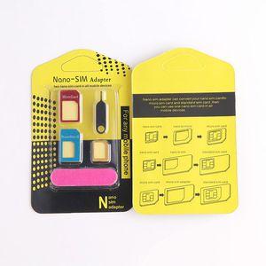 5 in1 алюминиевого металла Nano SIM-карты на Micro SIM стандартный адаптер для Samsung S5 S7 S6 Пограничный конвертер Eject Pin