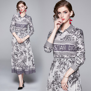 2020 Frühlings-Hemd der Frauen + Faltenrock High-End-Printed Zweiteiler Langarm-Anzüge Fashion elegante Dame Set