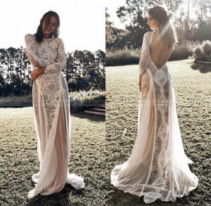 Lace Backless Vintage Boho do casamento de praia Vestidos de manga comprida Nude Forro País Bohemian Vestidos de casamento Hippie Gypsy vestido da noiva