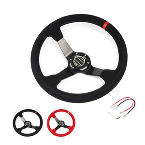 hot 14inch 350mm for SPC Deep Corn Drifting Suede Leather Steering Wheel   Universal Car Auto Racing Steering wheels 2 Colors