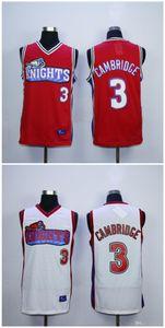 Qualité supérieure ! Maillot Calvin Cambridge # 3 pour hommes, comme Mike LA Knights, maillots de basket-ball pour collèges, film, blanc rouge 100% Stiched Taille S-XXXL