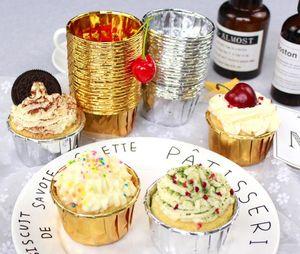 Cupcake di carta Cupcake Cases Foglio di alluminio oro argento Muffin Cups Cucina Baking decorazione della festa nuziale