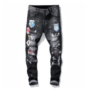 dsquared2 jeans dsq d2 Мужские джинсы мужчины джинсовых рваных джинсов Разрывы Stretch Черные джинсы Мода Slim Fit Омывается Motocycle джинсовых брюк Hip HOP панелей Брюки B6