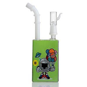 Robô verde Bong Box exclusivo da tubulação de água Hookah Bubblers Pegasus Crescent Reciclador de vidro Bongs com junta 14 milímetros